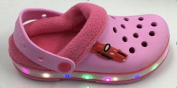 EVA Warm Kids Children LED Light Clogs with Fur for Winter