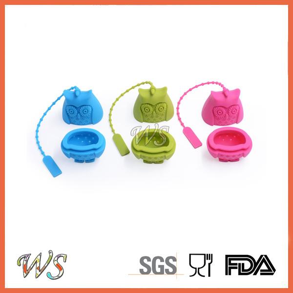 Ws-If057 Food Grade Silicone Mini Owl Tea Infuser Set Leaf Strainer for Mug Cup, Tea Pot