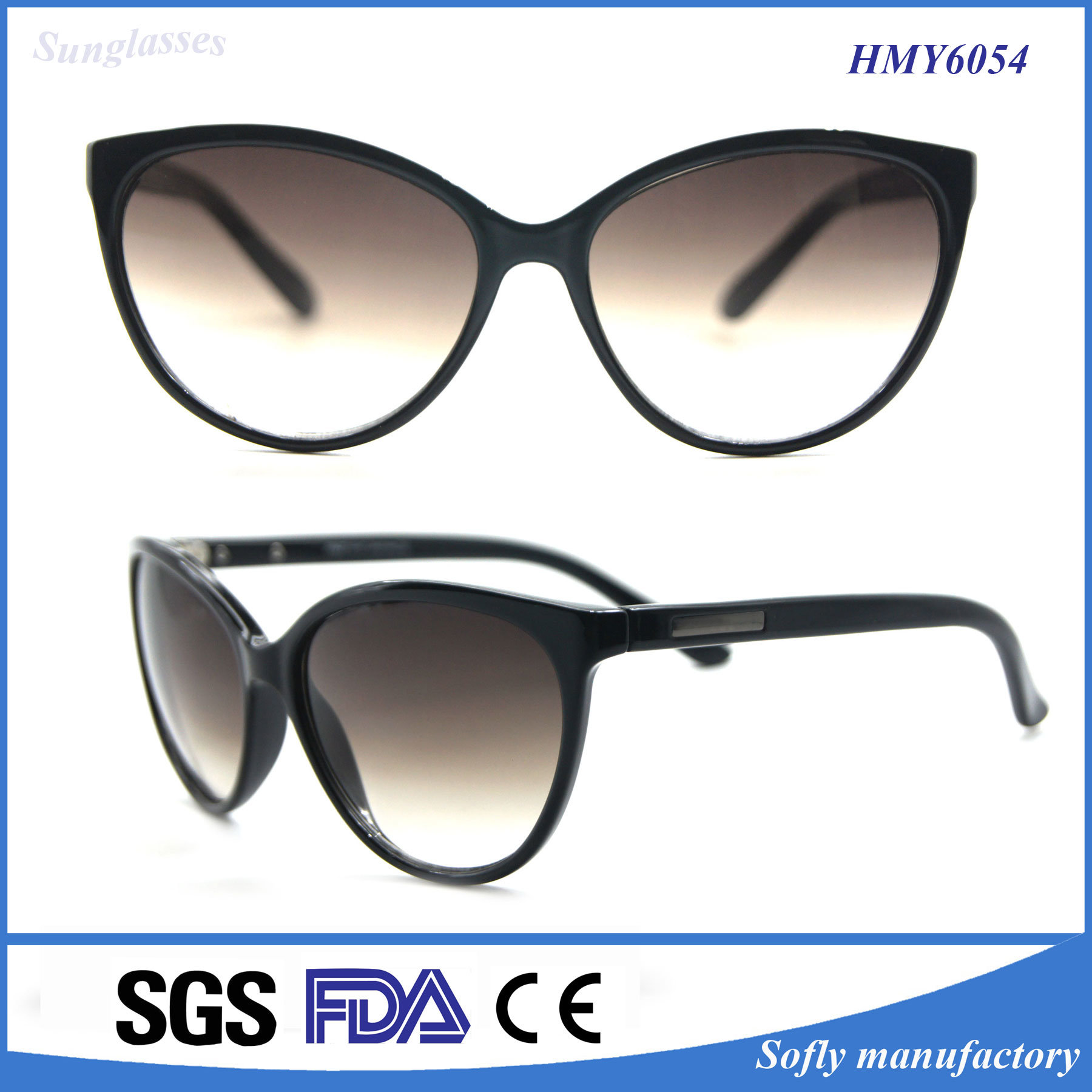 Xiamen Promotion Fashion Brand Polarized Cat Eye Sunglasses for Women