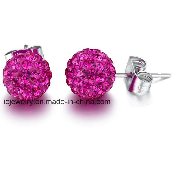 Stainless Steel Crystal Body Jewelry Ball Stud Earrings