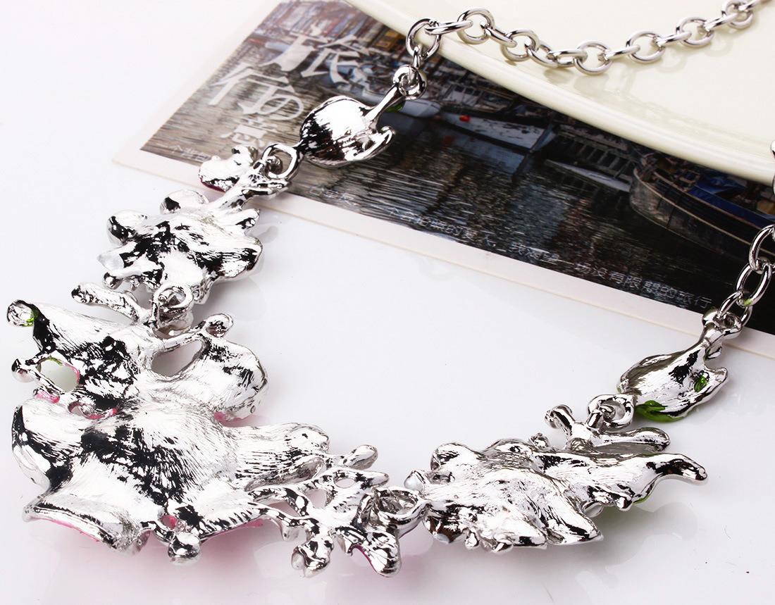 Fashion Leaves Flowers Diamond Statement Choker Necklace Earring Set Jewelry