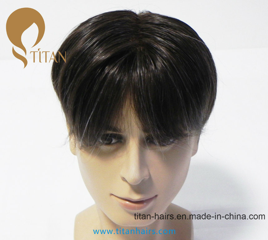 Top Quality 100% Remy Human Hair Toupee with Lace Frontal