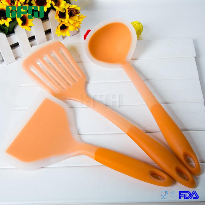 Food Grade Silicone Kitchenware Sets Wide Blade Turner+Slotted Spatula+Ladle