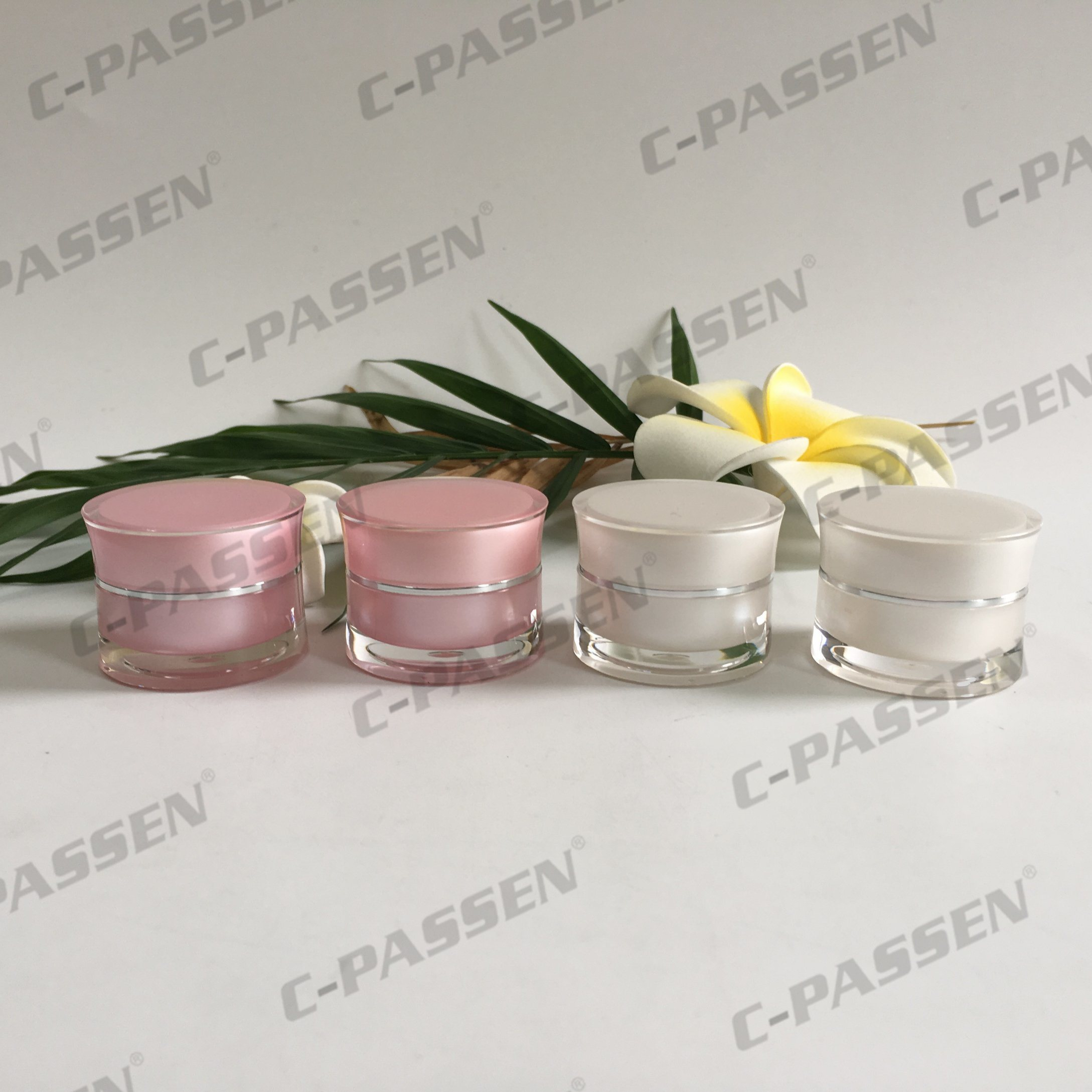 5g 15g 30g 50g Pink Waist Acrylic Cream Jar for Cosmetic Packaging (PPC-ACJ-125)
