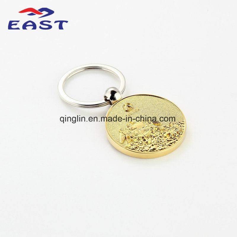 Luxury Circle Embossed Gold Metal Key Chain for Souvenir