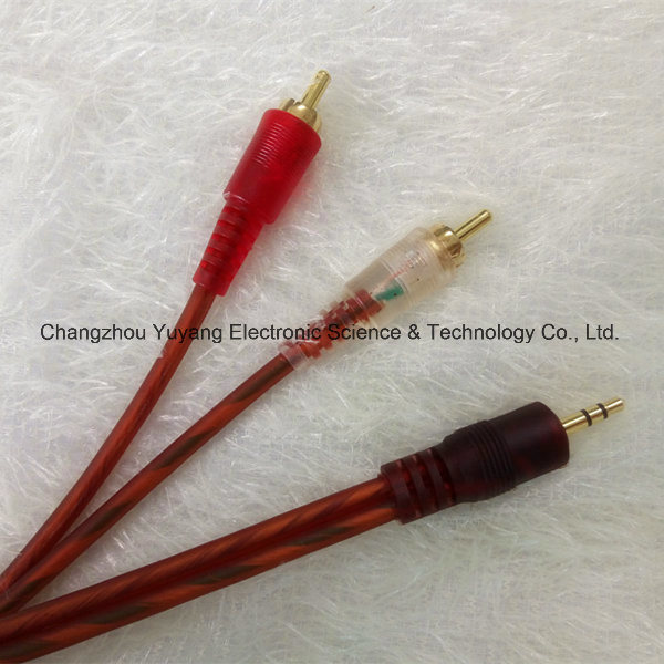 3.5mm Stereo Phone Plug to 2r Gold-Plated /AV Cable