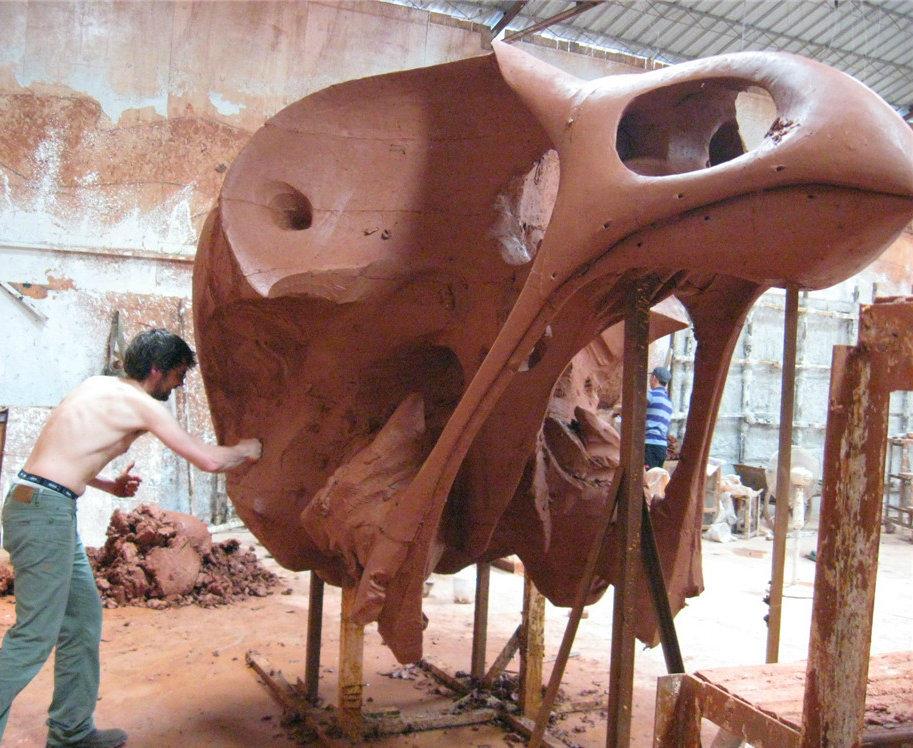 The Golden Bird Skull Head, Indoor Outdoor Garden Square Metal Sculpture
