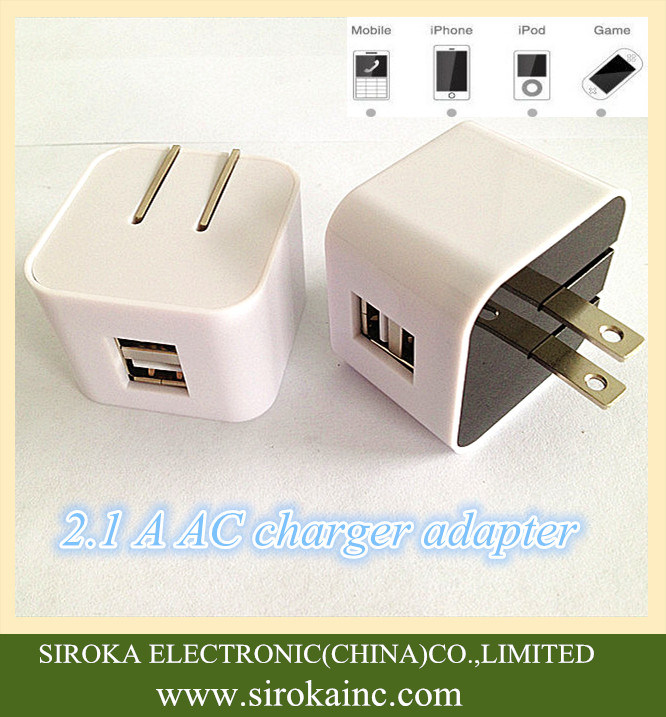 Hot Selling Us Folding Plug Dual USB Wireless Mobile Charger with 5V 2A for iPhone Samsung Table PC