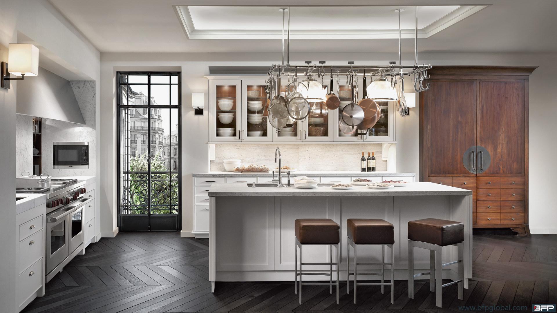 Chinese Customized White Kitchen Furniture PVC Laminate Kitchen Cabinet