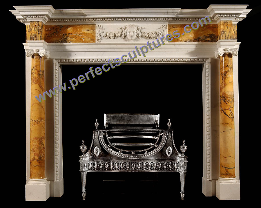 Stone Fireplace with Marble Mantel (QY-LS374)