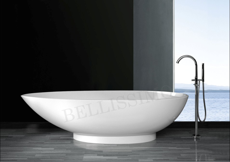 China stone resin bathtub bs 8606 china bathtub tub for Freestanding stone resin bathtubs