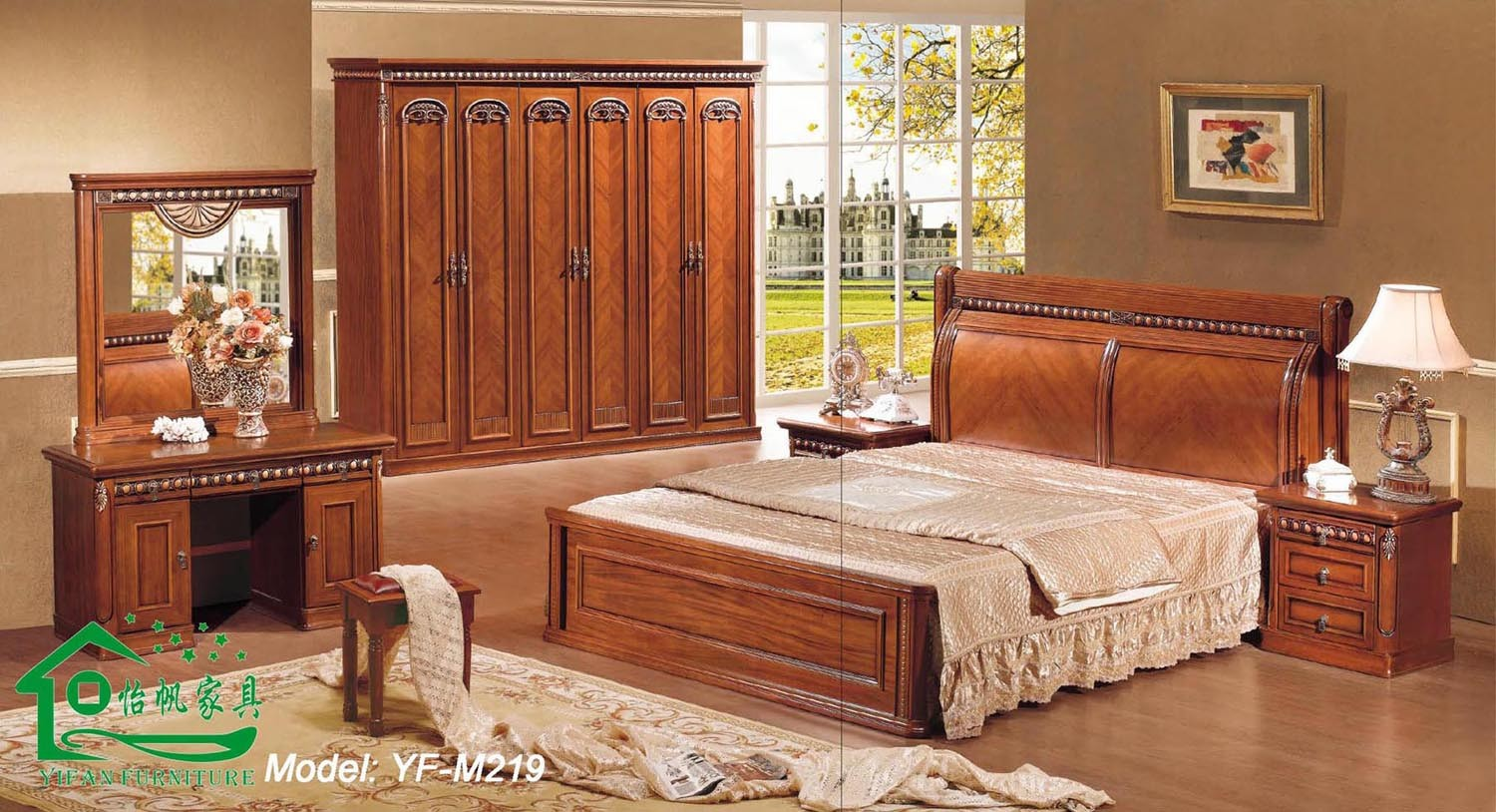 Wooden bedroom furniture with 80 inch length wood bed yf for Chambre a coucher en bois