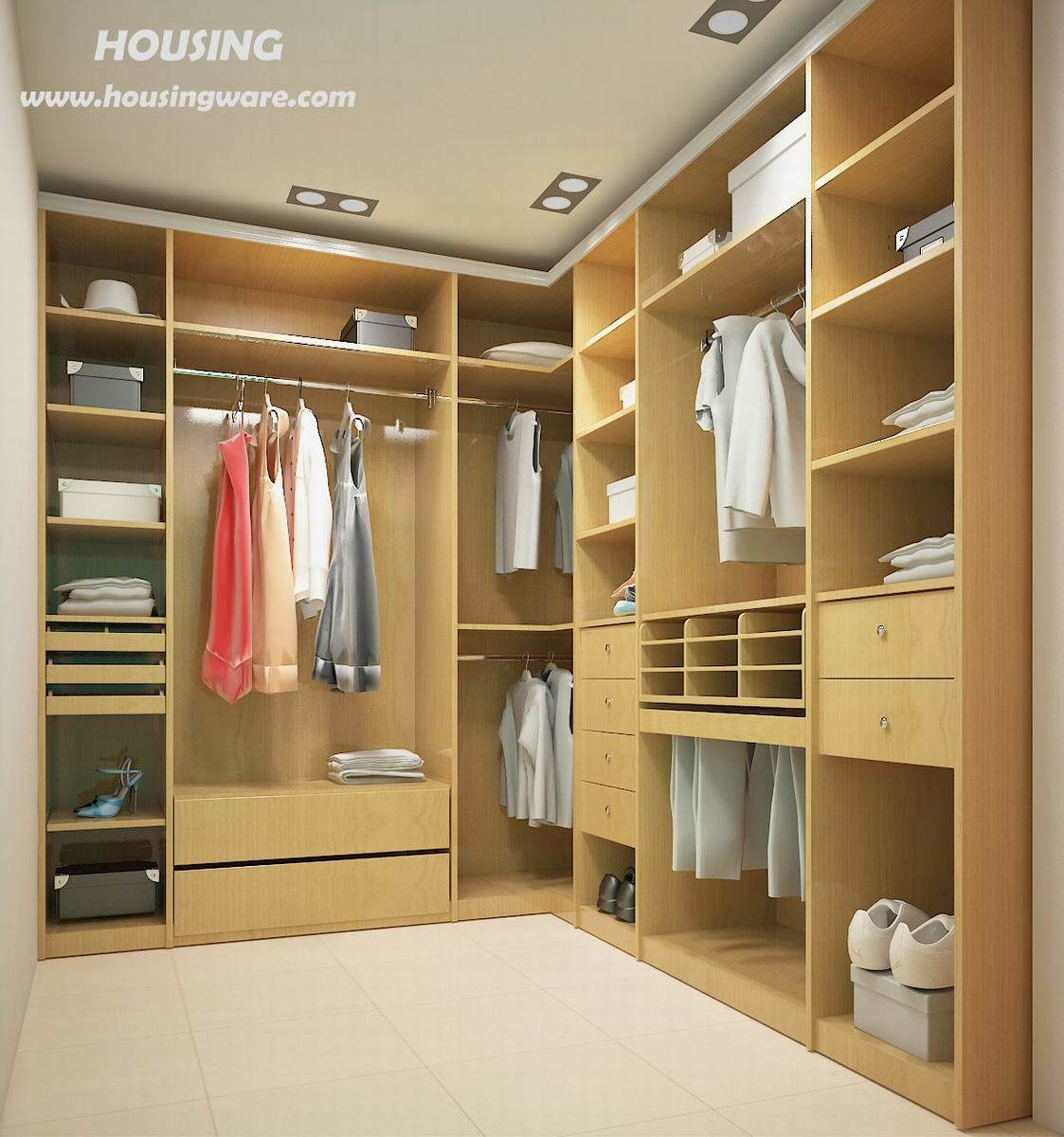 China Walk-in-Closet (HW-01) - large image for Wood Veneer Wardrobe