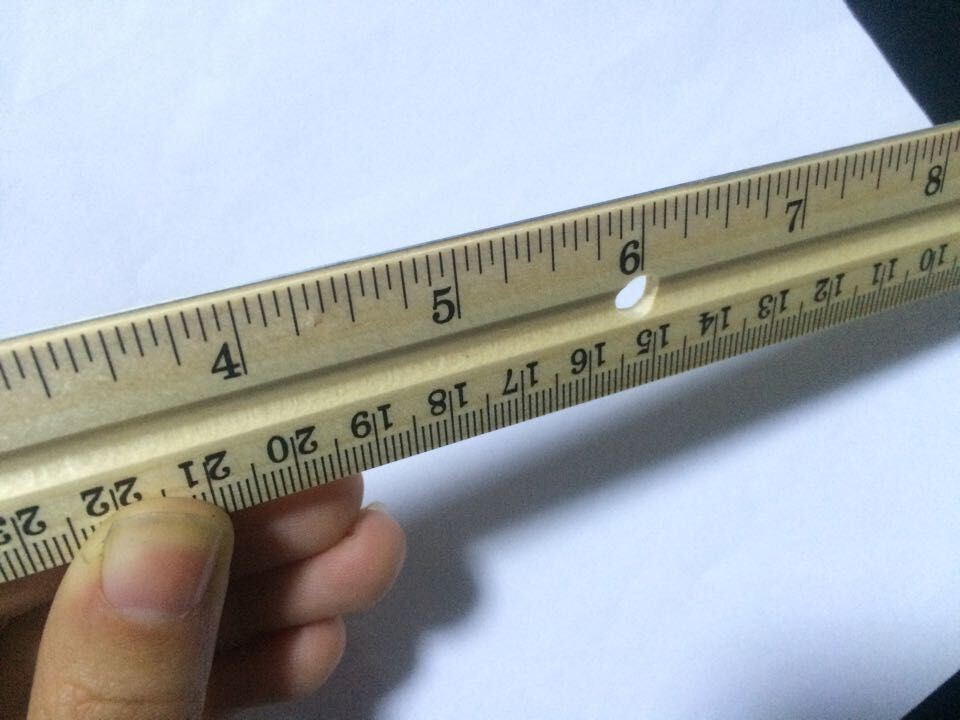 30cm Wooden Ruler with 4 Hole and Metal Scale