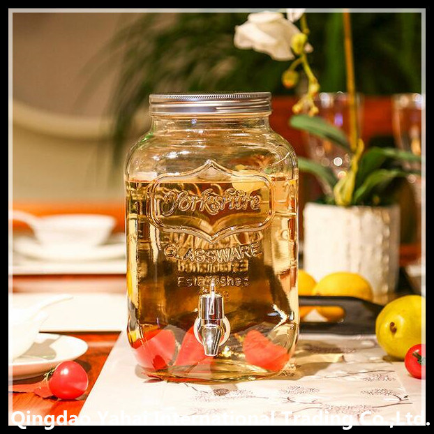 4L /5L / 8L Sqaure Glass Dispenser Jar with PP Bibcock