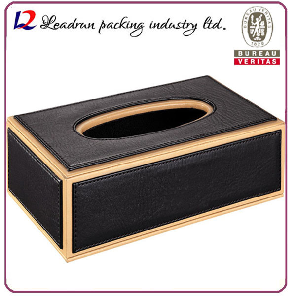 Wood Leather Tissue Box Facial Paper Tissue Box Car Tissue Tin Box (Hx06)