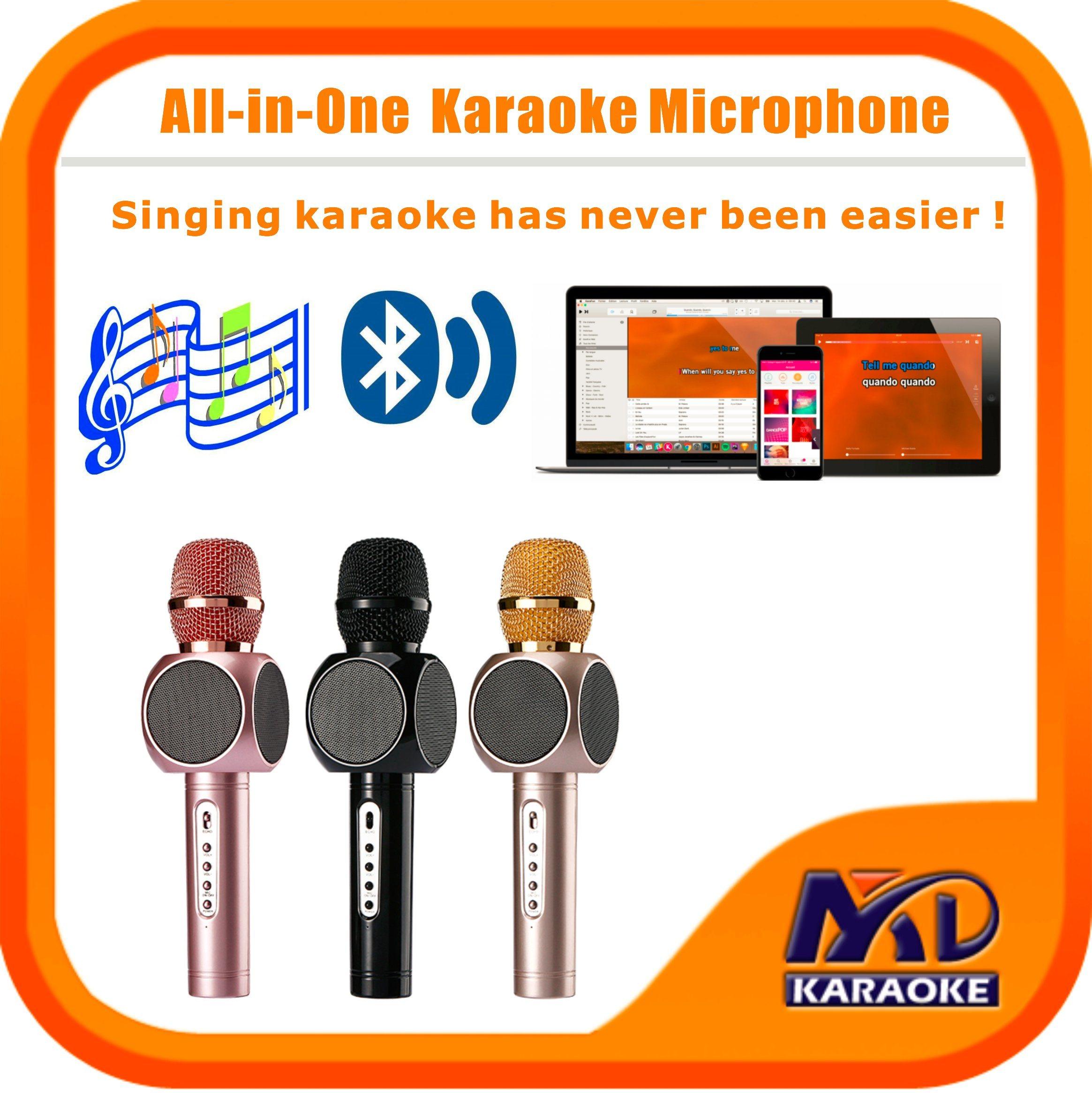 Wireless Bluetooth Microphone Multi-Function Karaoke Player Home Mini Karaoke Player KTV Singing Record for iPhone Smart Phone Tablet PC Laptop