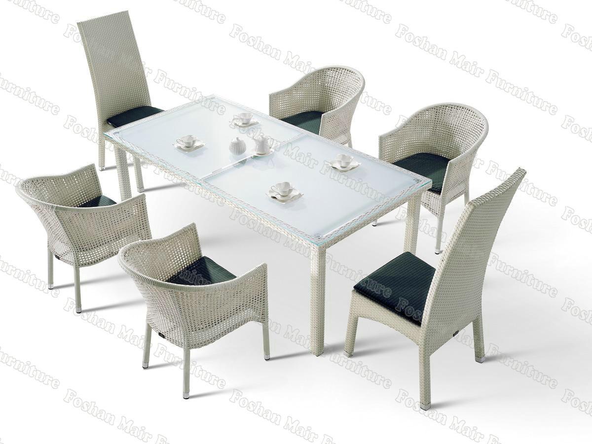 China Outdoor Furniture Garden Furniture Set White Rattan Dining Set M7C27