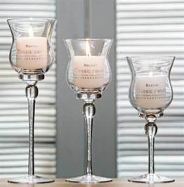 Flower Shape Glass Candle Holder with Long Stemmed with Candle