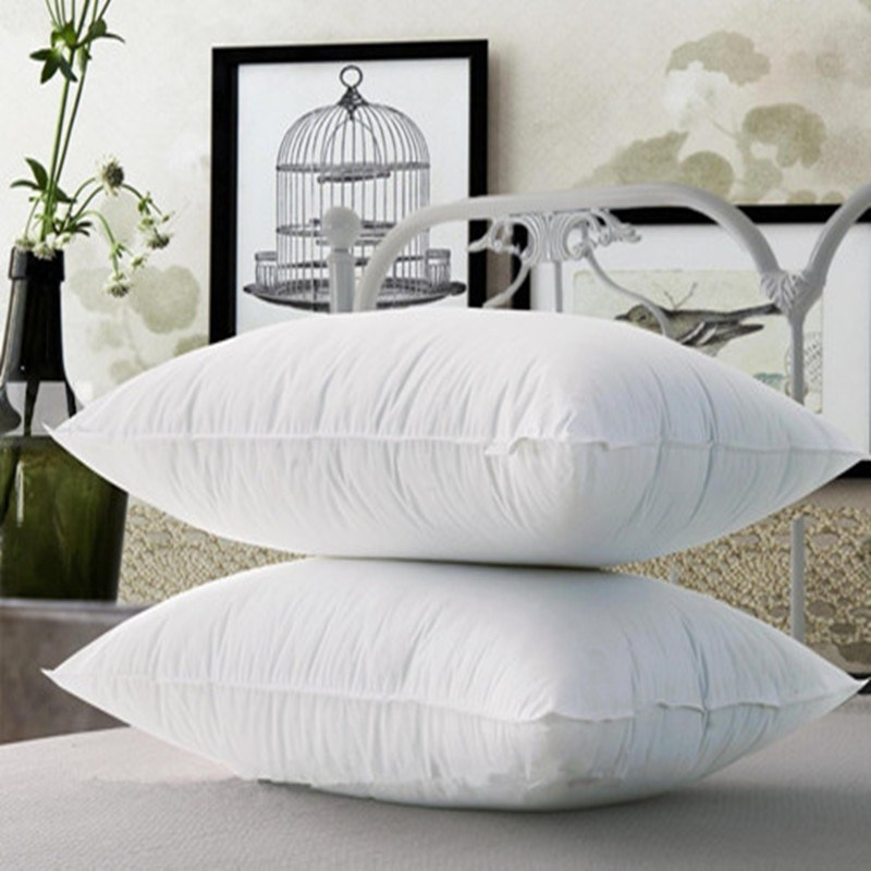 Cotton Fabric White Goose Feather Filled Bedding Pillow