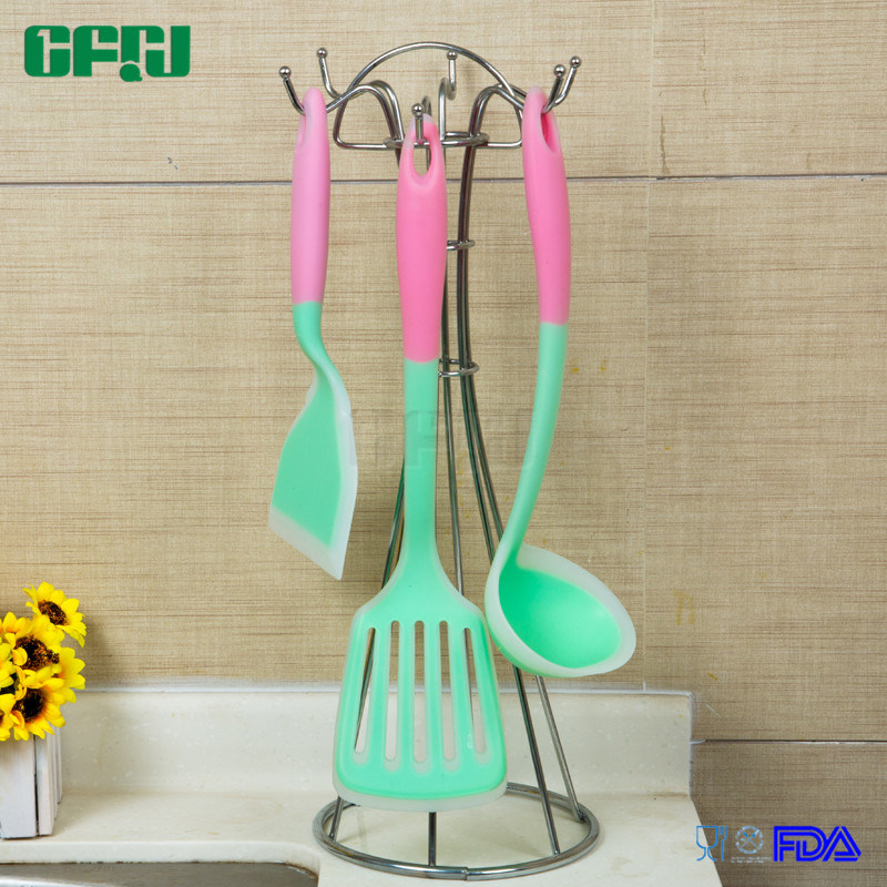 Food Grade Silicone Kitchenware Sets Wide Blade Turner+Slotted Spatula+Ladle