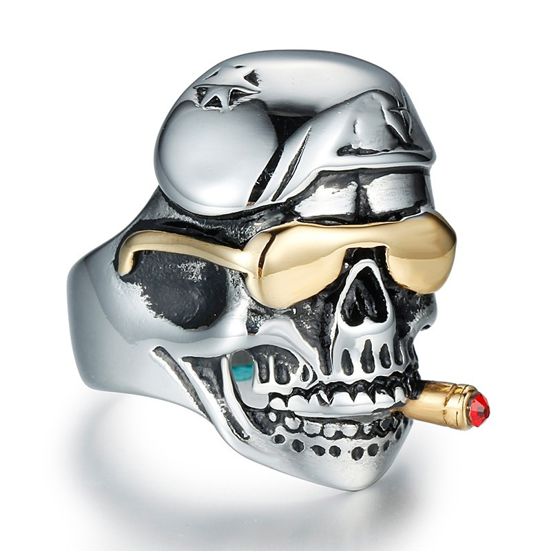 Fashion Vintage Smoke Skull Anti Rust Engraved Titanium Stainless Steel Man Rings Jewelry