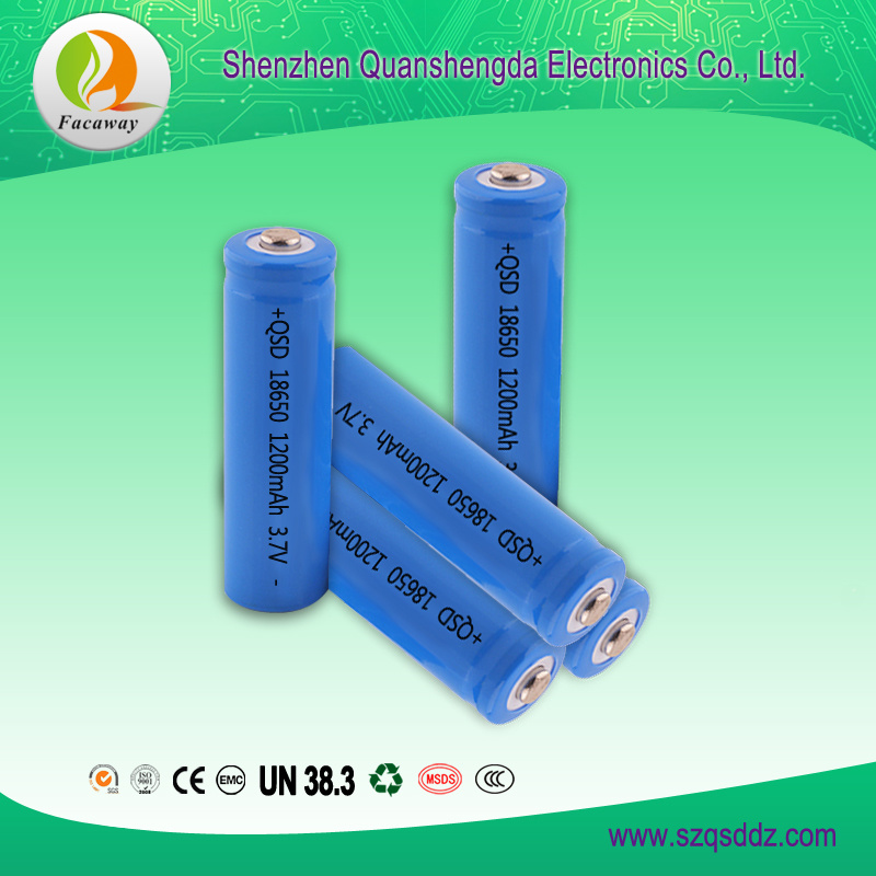 (QSD-3712) 3.7V 1200mAh 18650 Rechargeable Li-ion Battery