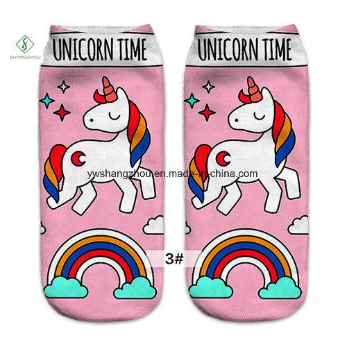 Europe New 3D Unicorn Printed Emoji Custom Boat Socks Factory