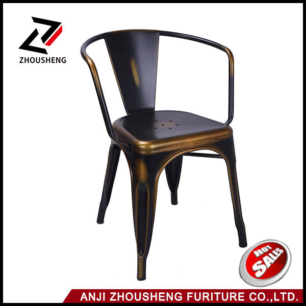 Metal Stackable Vintage Style Dining Chairs Antique Copper Metal Dining Chair with Armrest