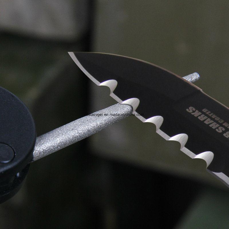 Pocket Multi Function Tools Foldaway Pocket Keychain Knife Sharpener with Pre-Set Carbides Blades, Ceramic Stones Diamond-Coated Rod for Sharpening Esg10145