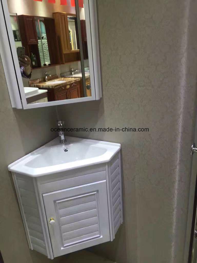 9068W Bathroom Furniture, Sanitary Ware, Cheap Wall Hung Corner PVC Bathroom Cabinet