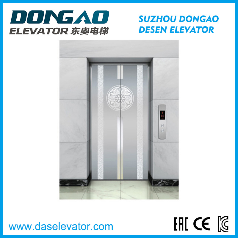 Small Machine Room Passenger Elevator with Mirror Etching Stainless Steel Finish