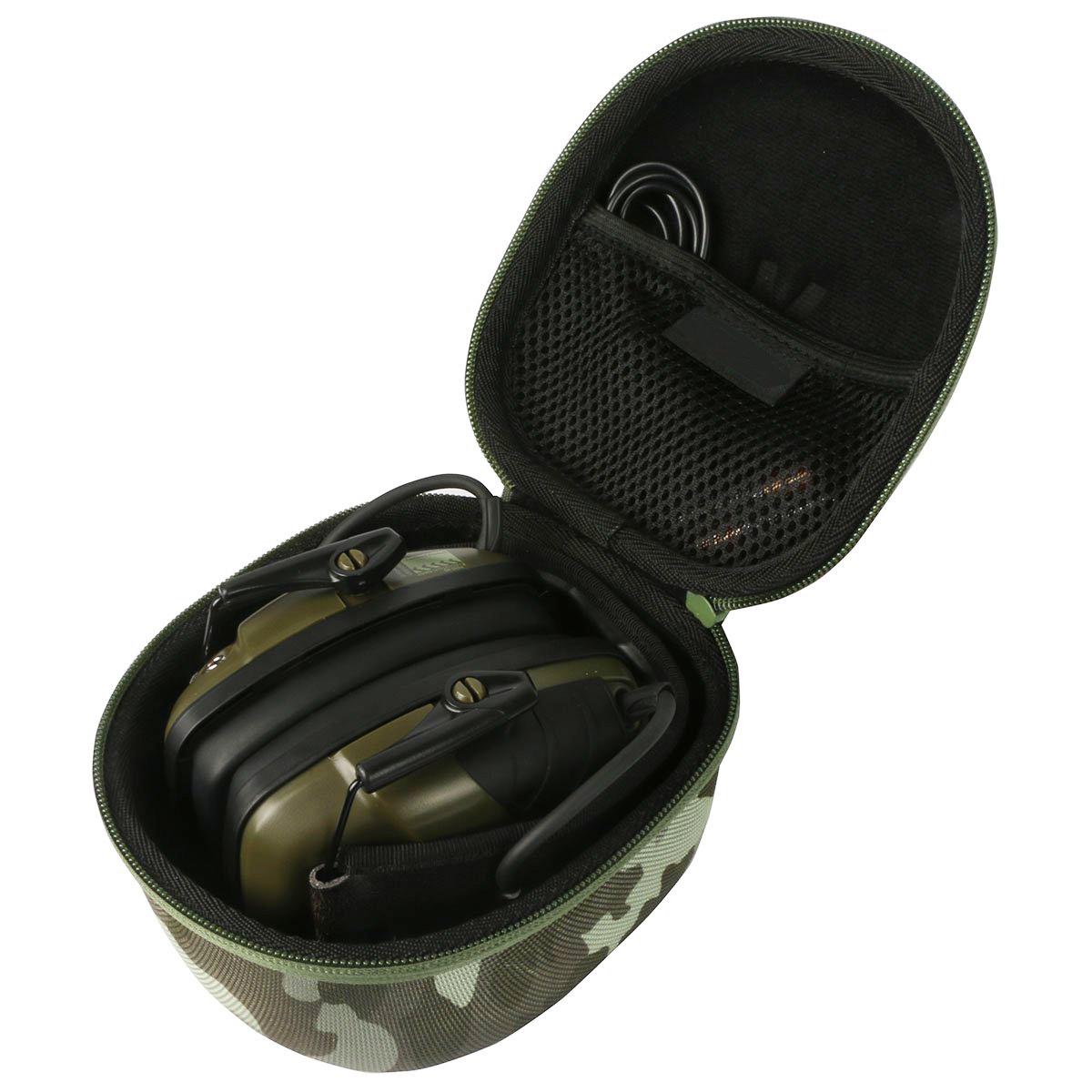 EVA Hard Shell Bag Tool Bag/EVA Carrying Storage Travel Hard Case Cover Bag for Howard Leight Impact Sport Od Electric Folding Earmuff. - Velcro Mesh
