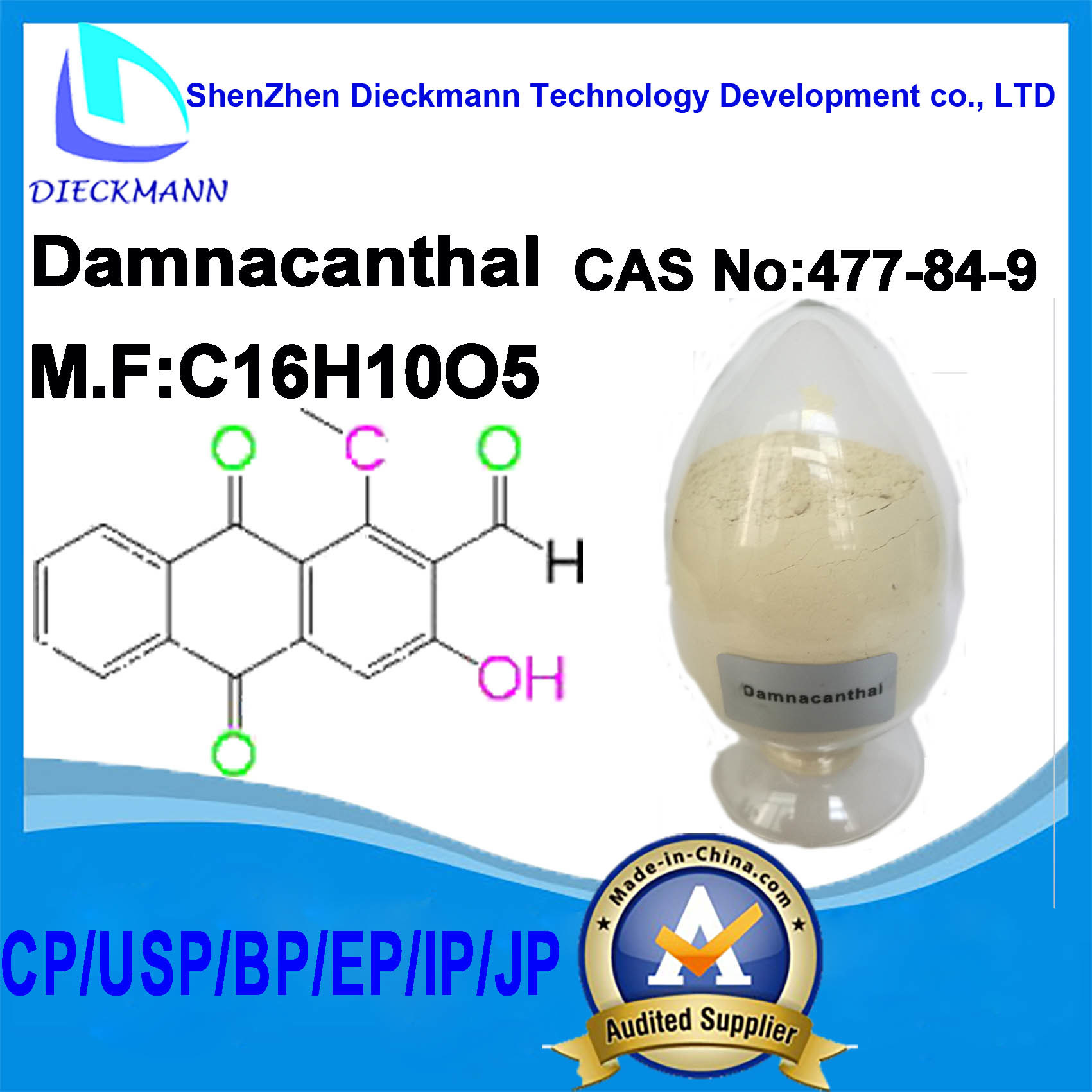 Damnacanthal CAS No 477-84-9 for Traditional Medicine for Pharmaceuticals