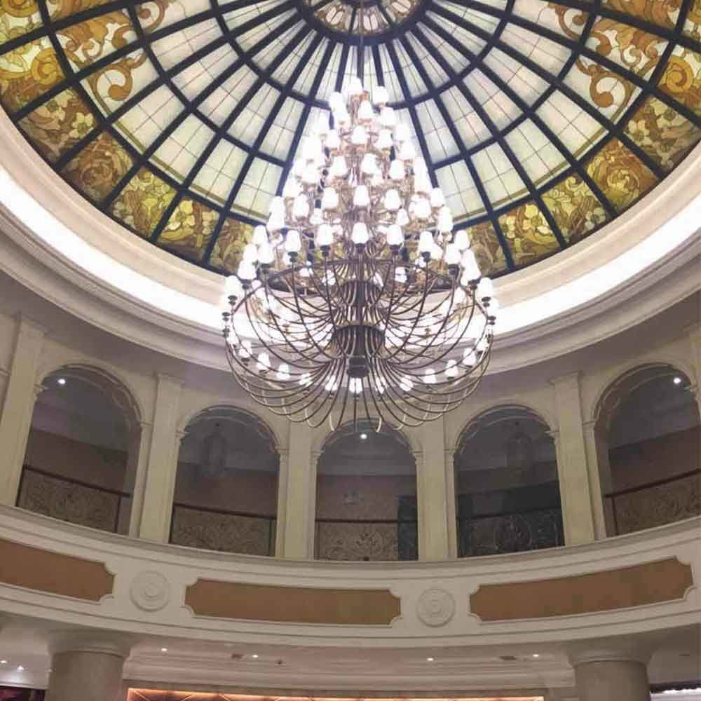 Interior Construction Custom Size Glass Room Lights Beauty Flower Ceiling