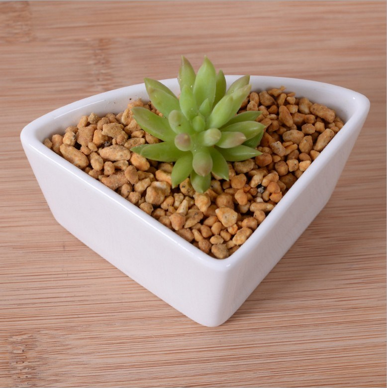 Triangular Ceramic White Flowerpot with Bamboo Base