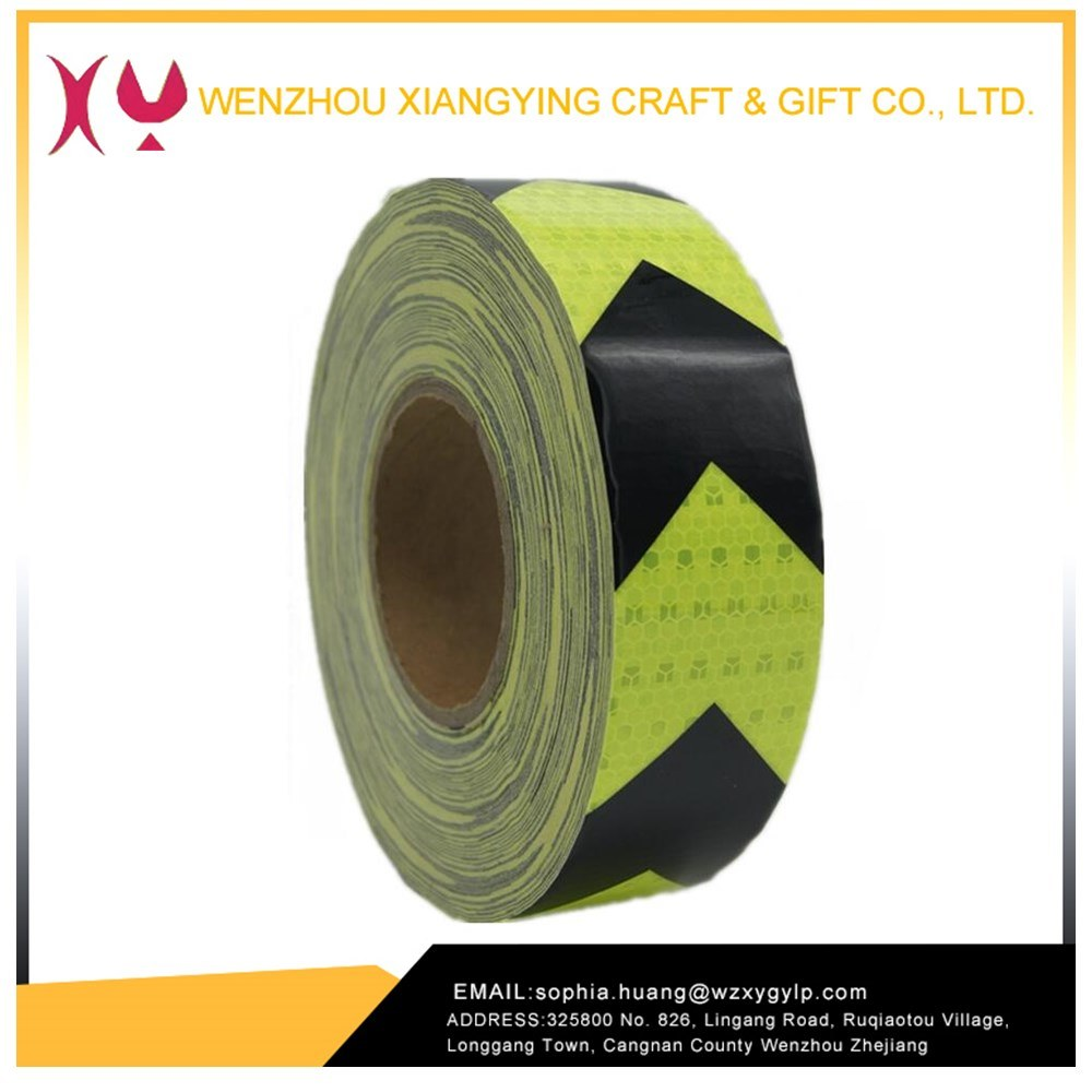 PVC Arrow Safety Reflective Warning Tape, Fluorescence Yellow/Black