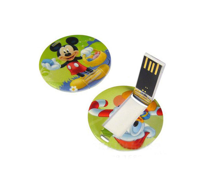 Customized Printed Circle/Round Business Card USB 4GB Flash Drives