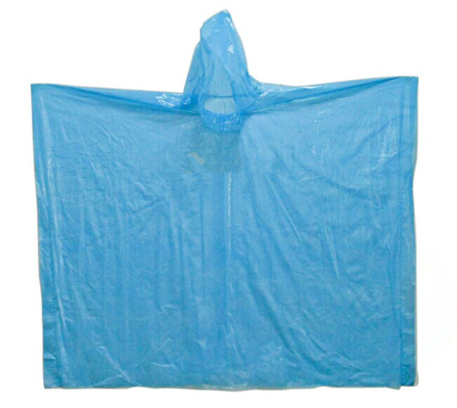 Emergency Adult Light Waterproof PE Disposable Rain Poncho with Hood