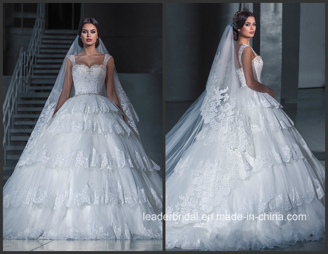Real Photo Wedding Gowns Lace Tulle Tiered Puffy Bridal Dresses G1729