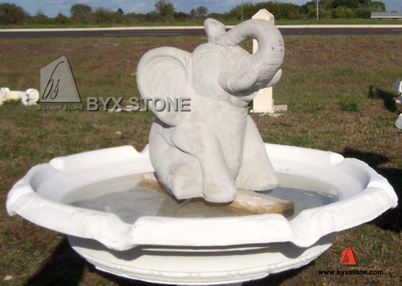 Marble / Granite Stone Elephant Water Garden Fountain for Decoration