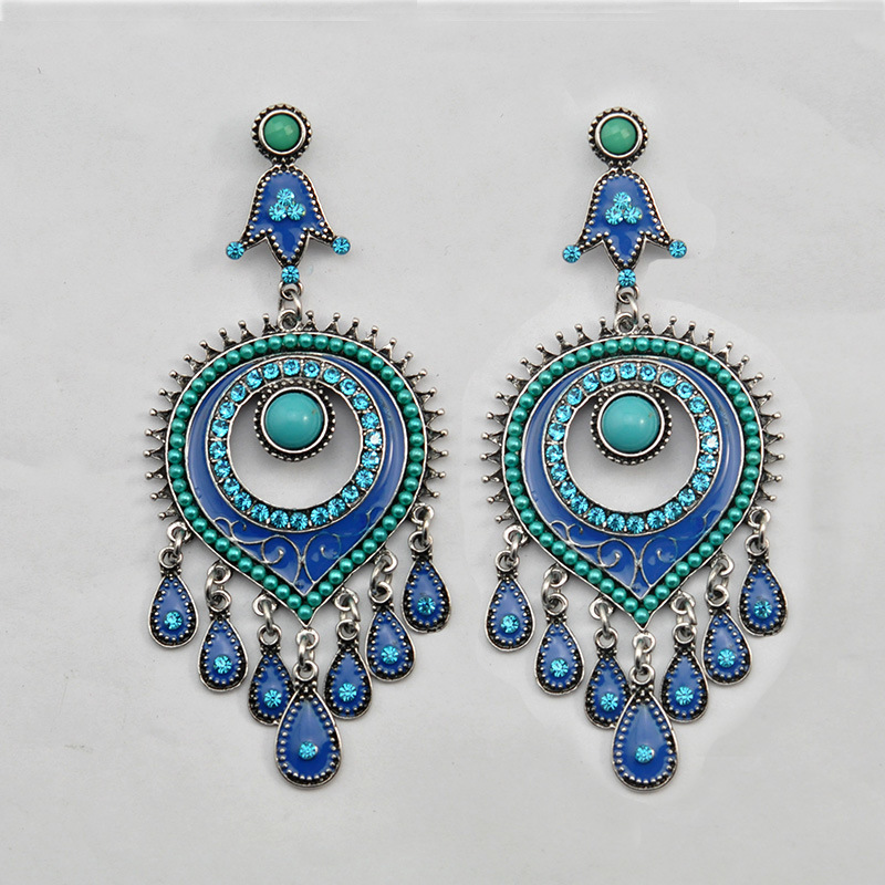 VAGULA Jewelry Antique Silver Alloy Plated Drop Earrings for Women Gifts