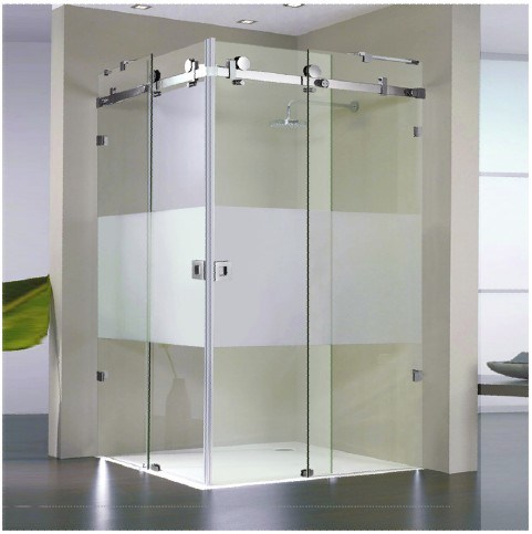 small square shower corner unit with double sliding glass door hf 013
