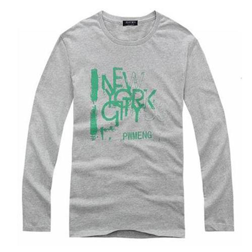 100% Organic Cotton Long Sleeve Printing Men T-Shirt