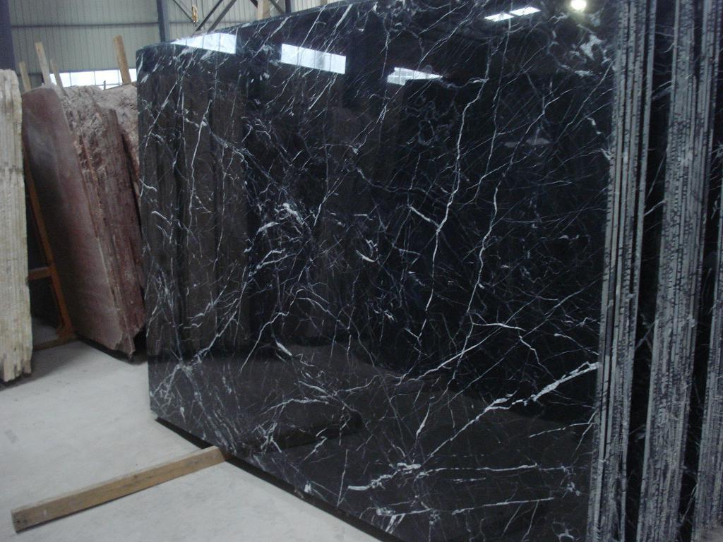 China Marble Slab Mosa Classic Black China Marble Slab