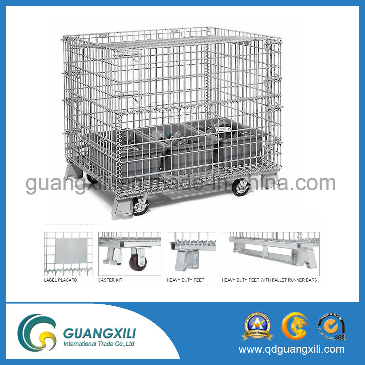1200*1000*900 Heavy Duty Steel Storage Cage with Caster /Wheel
