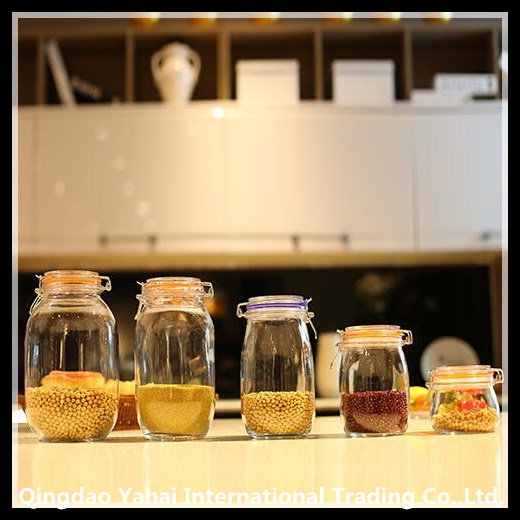 Set Clear Glass Storage Jar with Clip Lid
