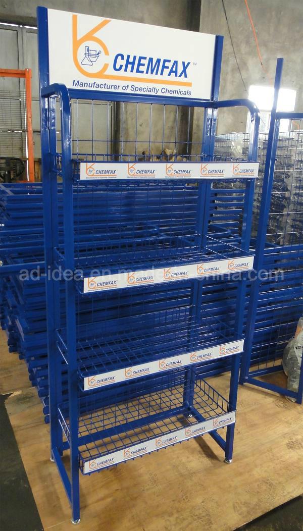 Lubricating Oil Metal Display Stand for Engine Oil Display Rack