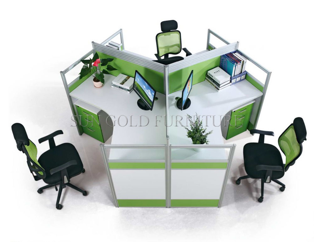 China Modern Office Furniture 3 Person Cubicle