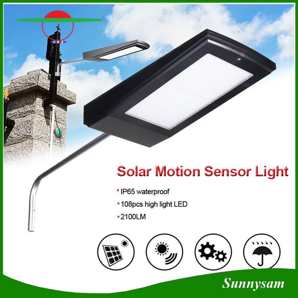 15W 108 LED Outdoor Security Solar Garden Street Light Microwave Radar Motion Sensor Solar Lamp